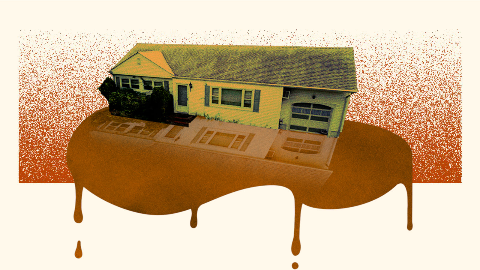 Collage: a ranch style house sitting on top of a leaking brown puddle