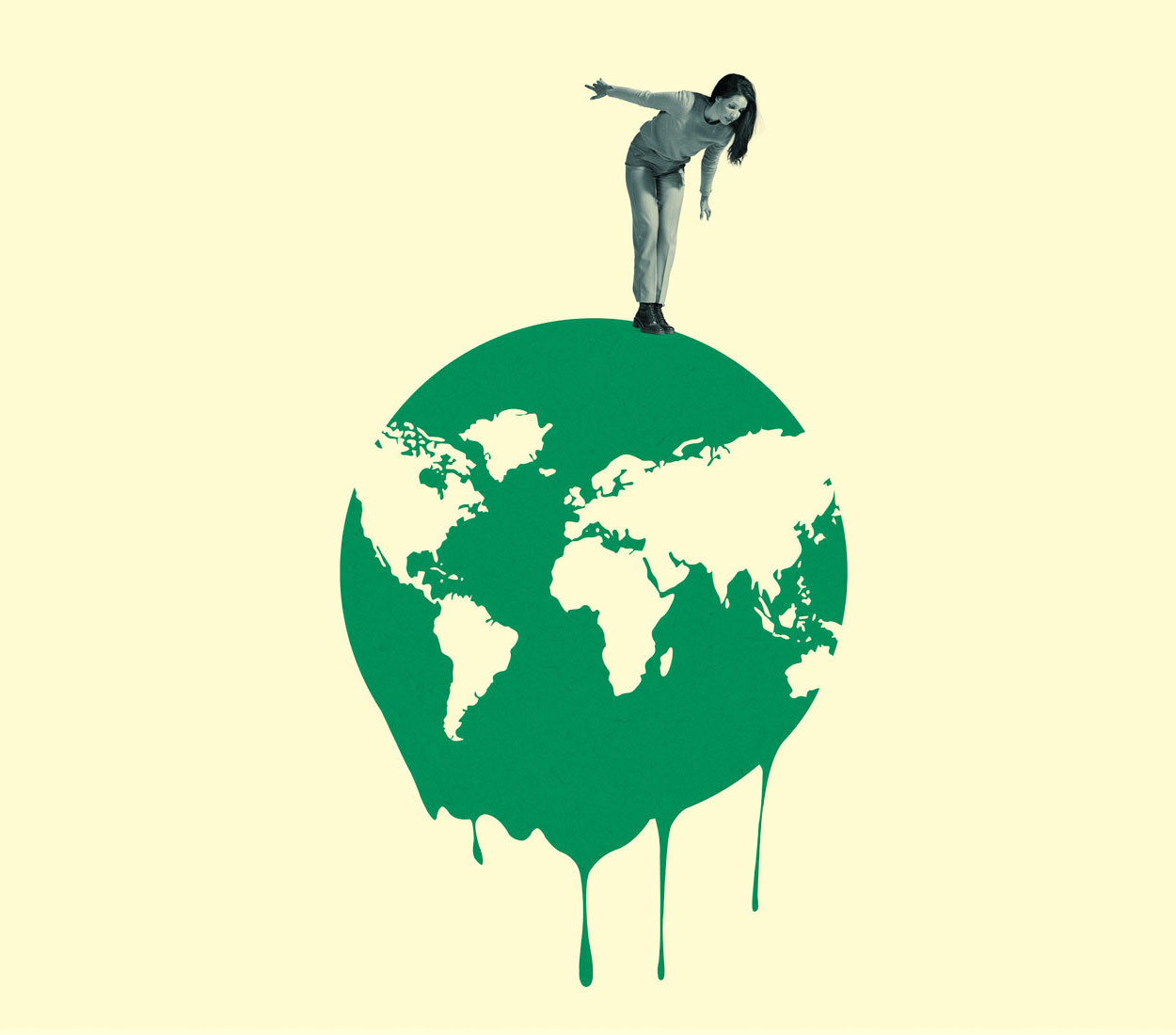 Collage: woman standing on top of a drawing of a melting earth