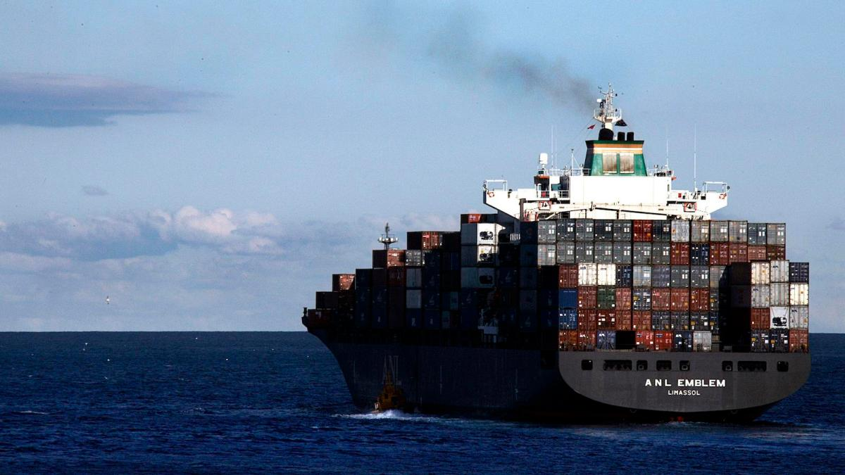 A container ship at sea.