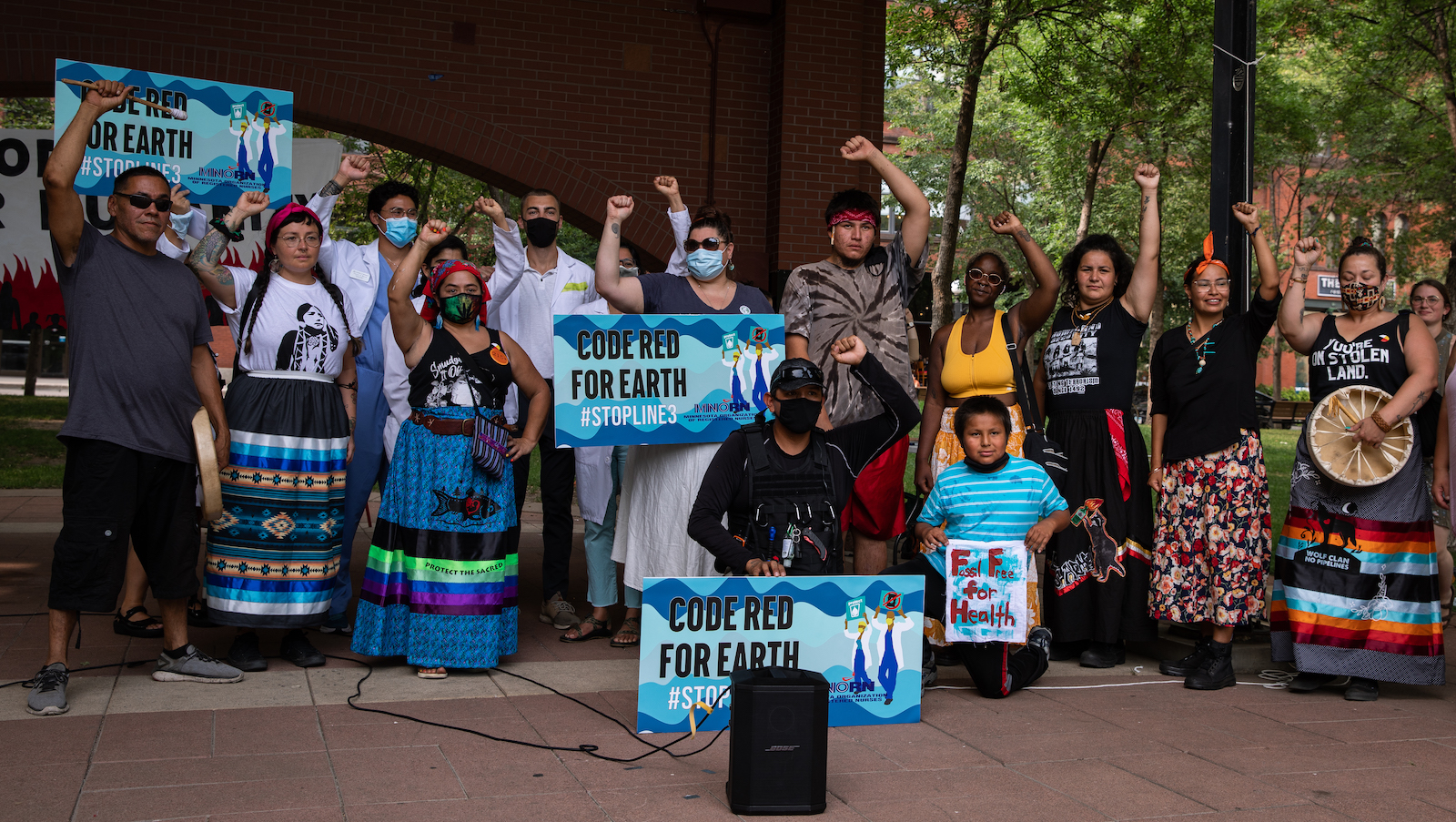 Physicians and Indigenous water protectors at a rally in St. Paul.