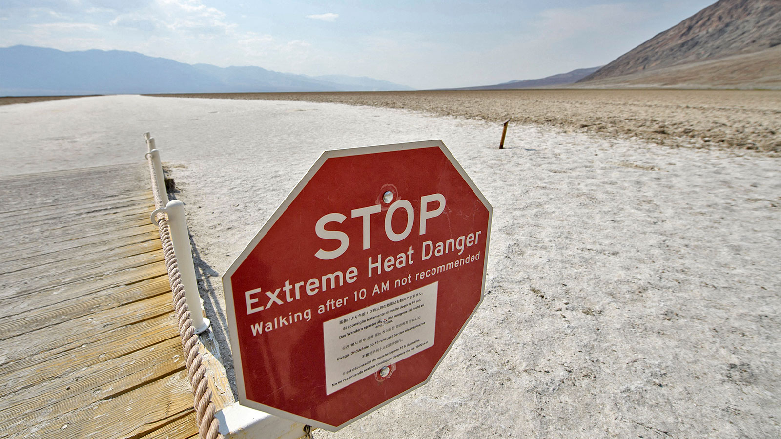 A stop sign warning of extreme heat danger at Death Valley National Park