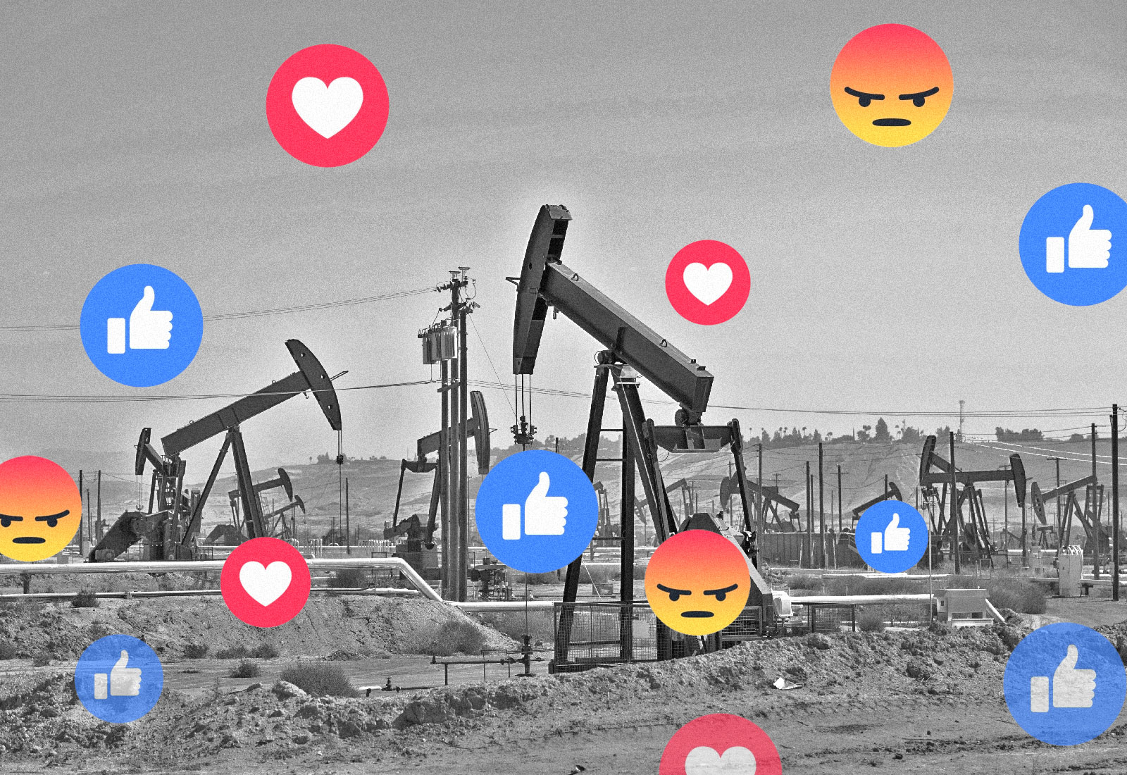 Collage: a photo of oil pumpjacks with Facebook emoji reactions on top