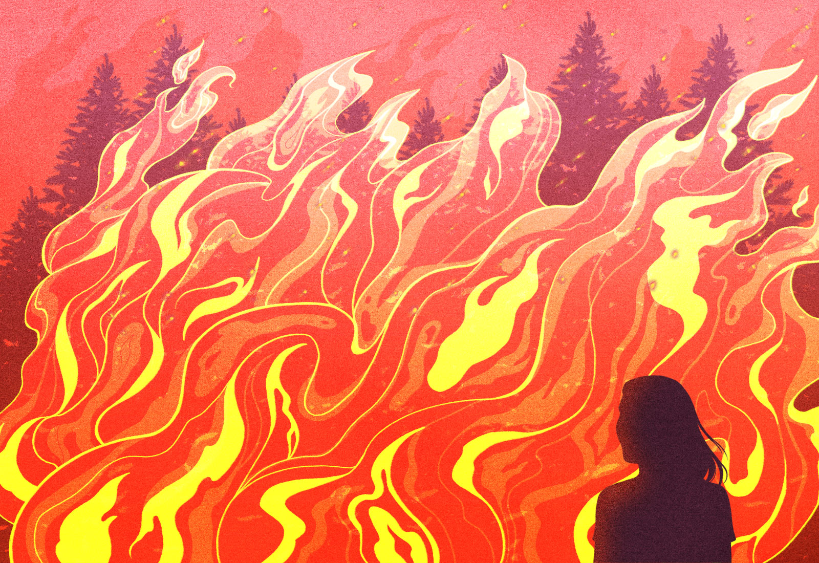 Illustration: silhouette of a woman looking at a large wildfire