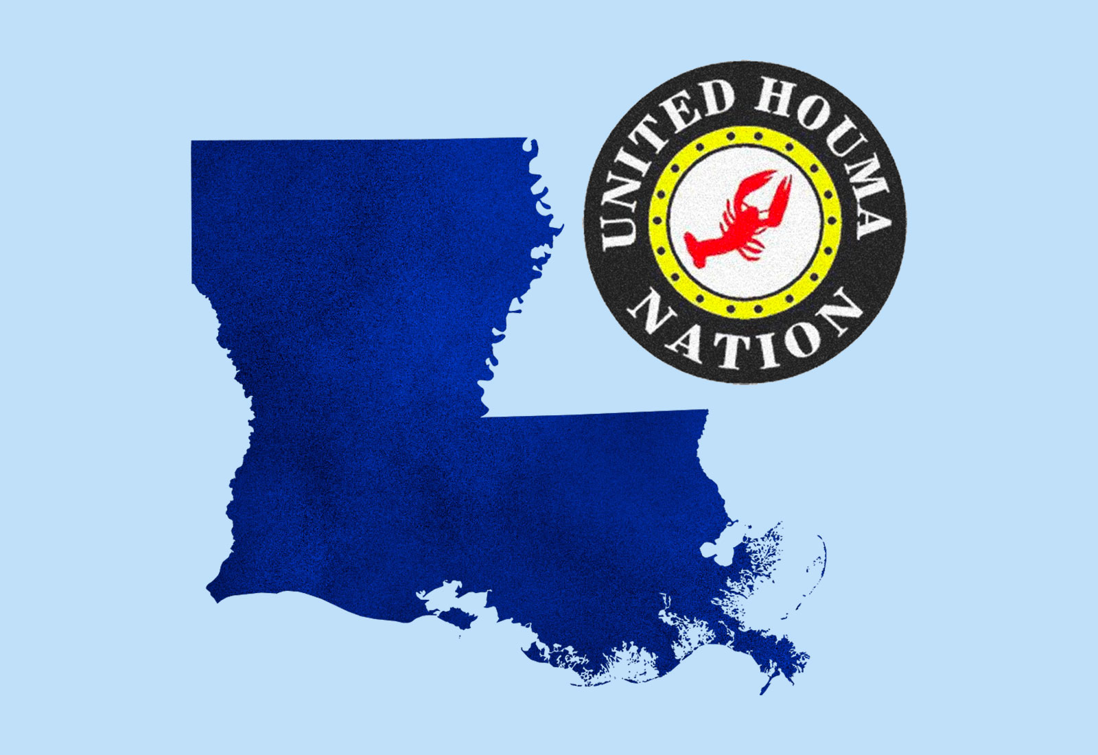 Collage: Silhouette of Louisiana state and the logo of the United Houma Nation