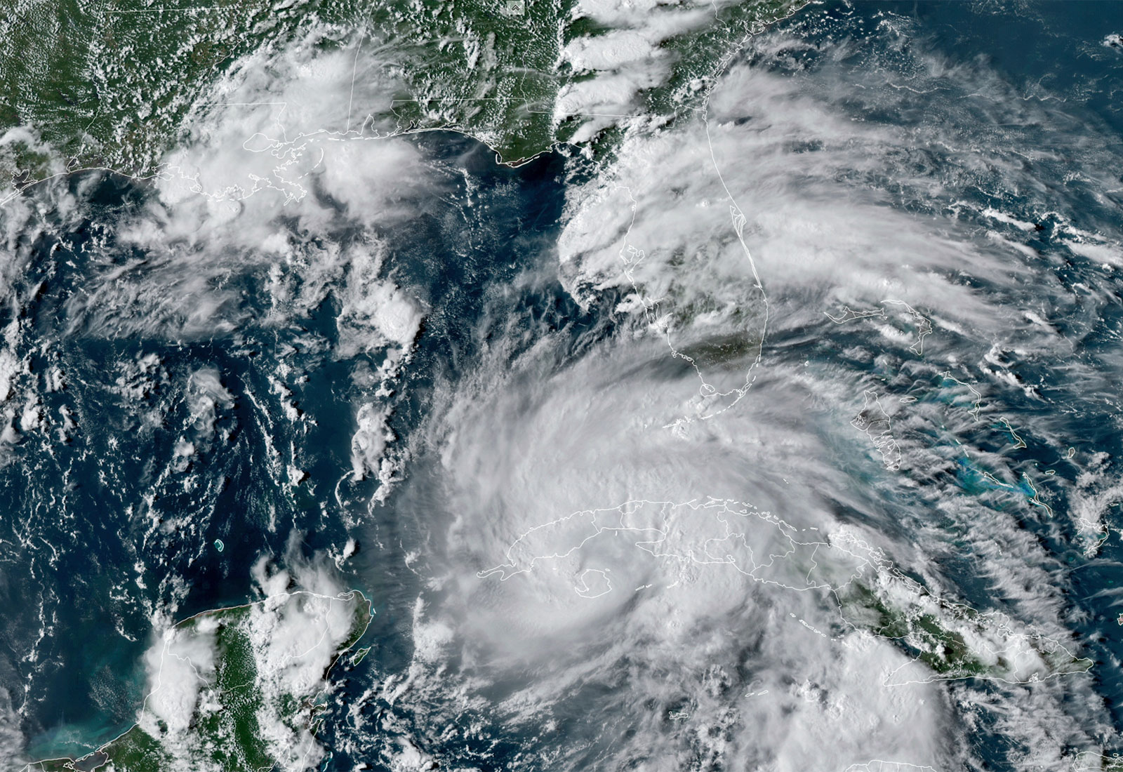 Satellite image of Hurricane Ida crossing Cuba