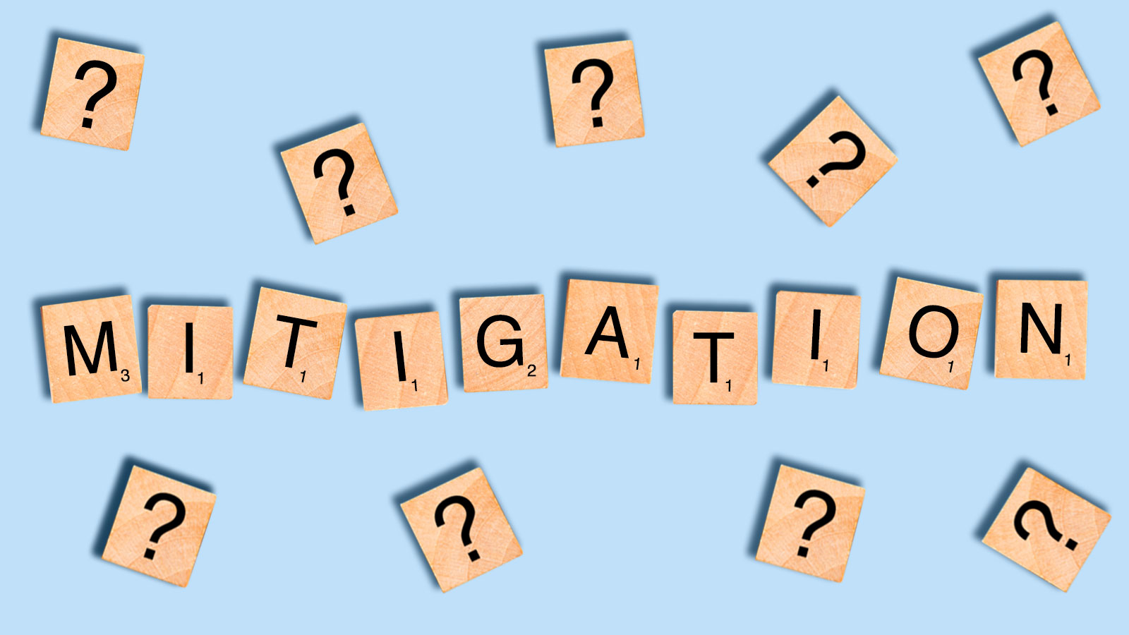 The word mitigation spelled out with Scrabble tiles surrounded by question marks