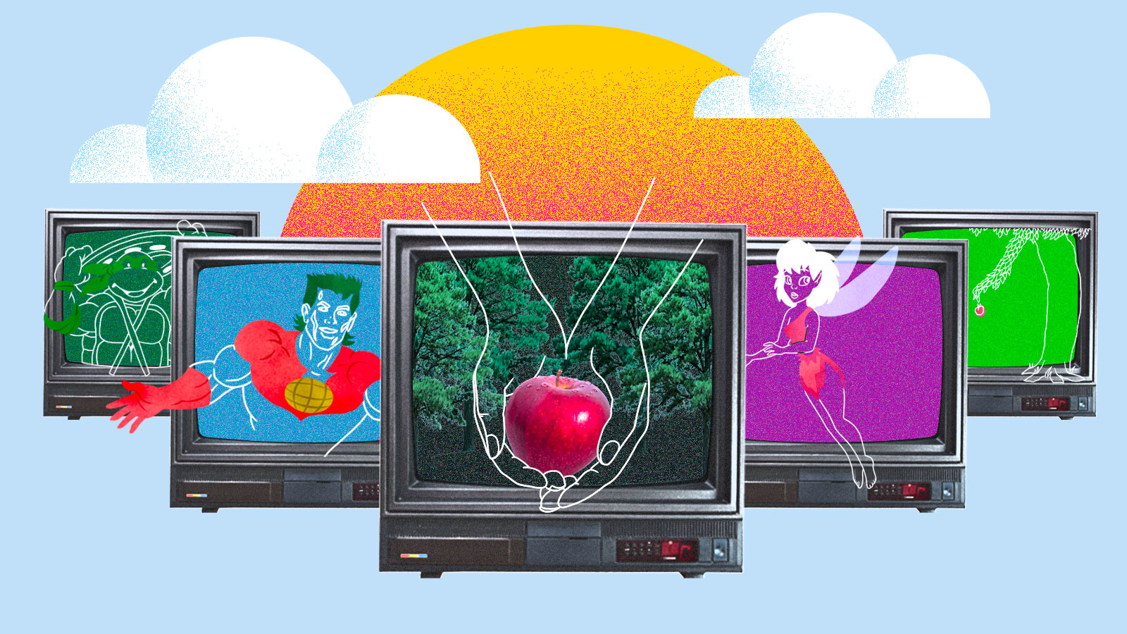 Collage: old TVs with images of nostalgic cartoons, books, and movies