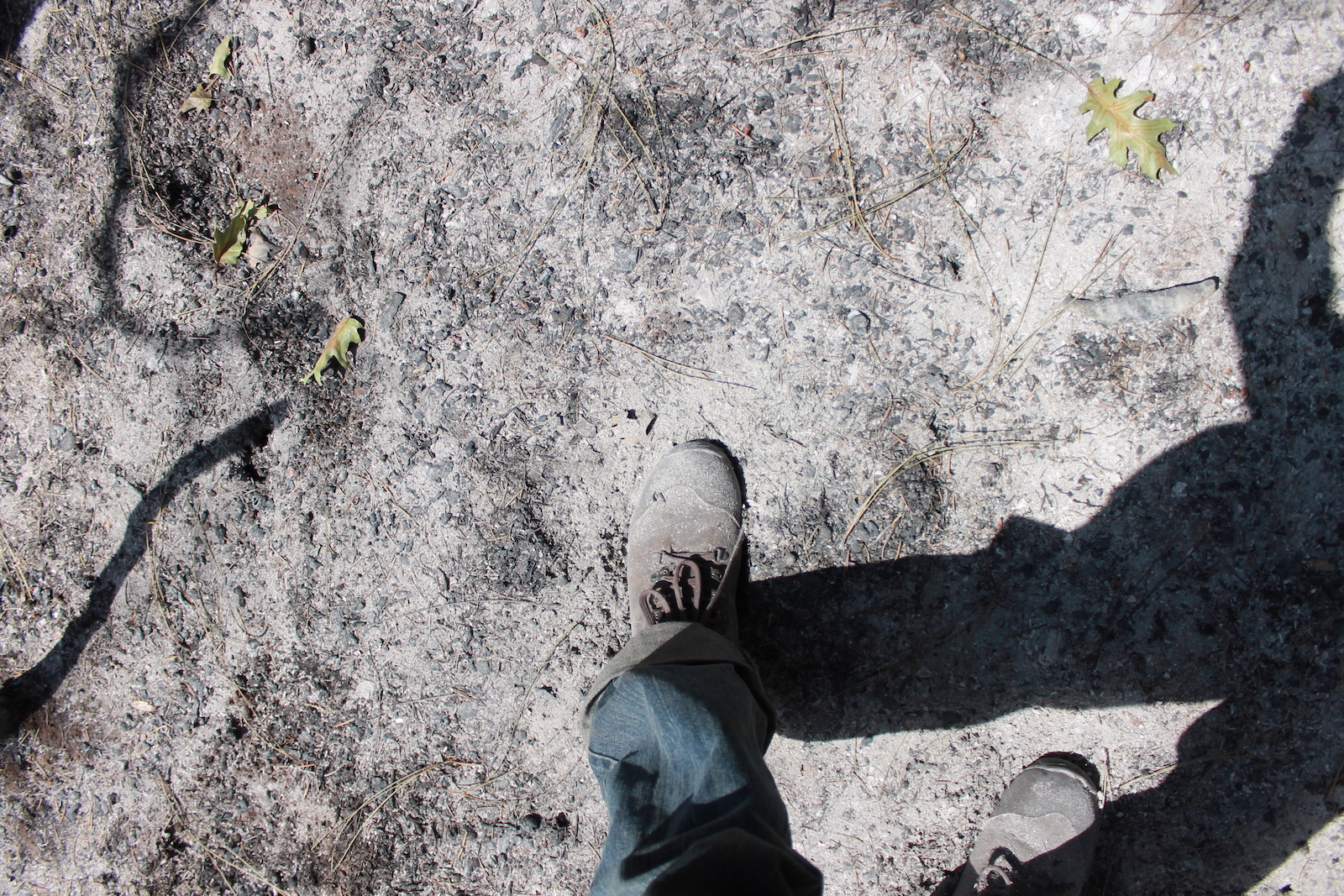 a downward-facing show of a hiking boot and leg with blue jeans walking over gray cracked ash