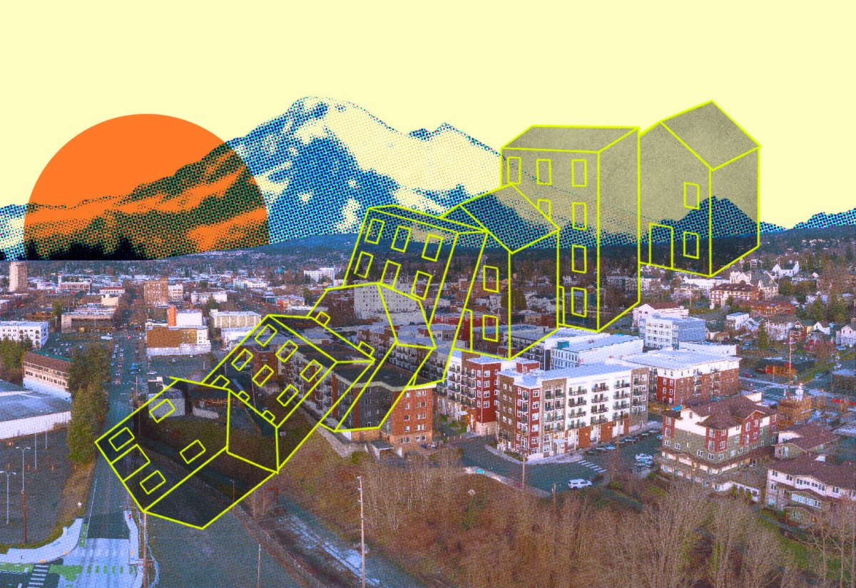 Collage: Bellingham, Washington with Mount Baker in the background and illustrated houses in a domino effect
