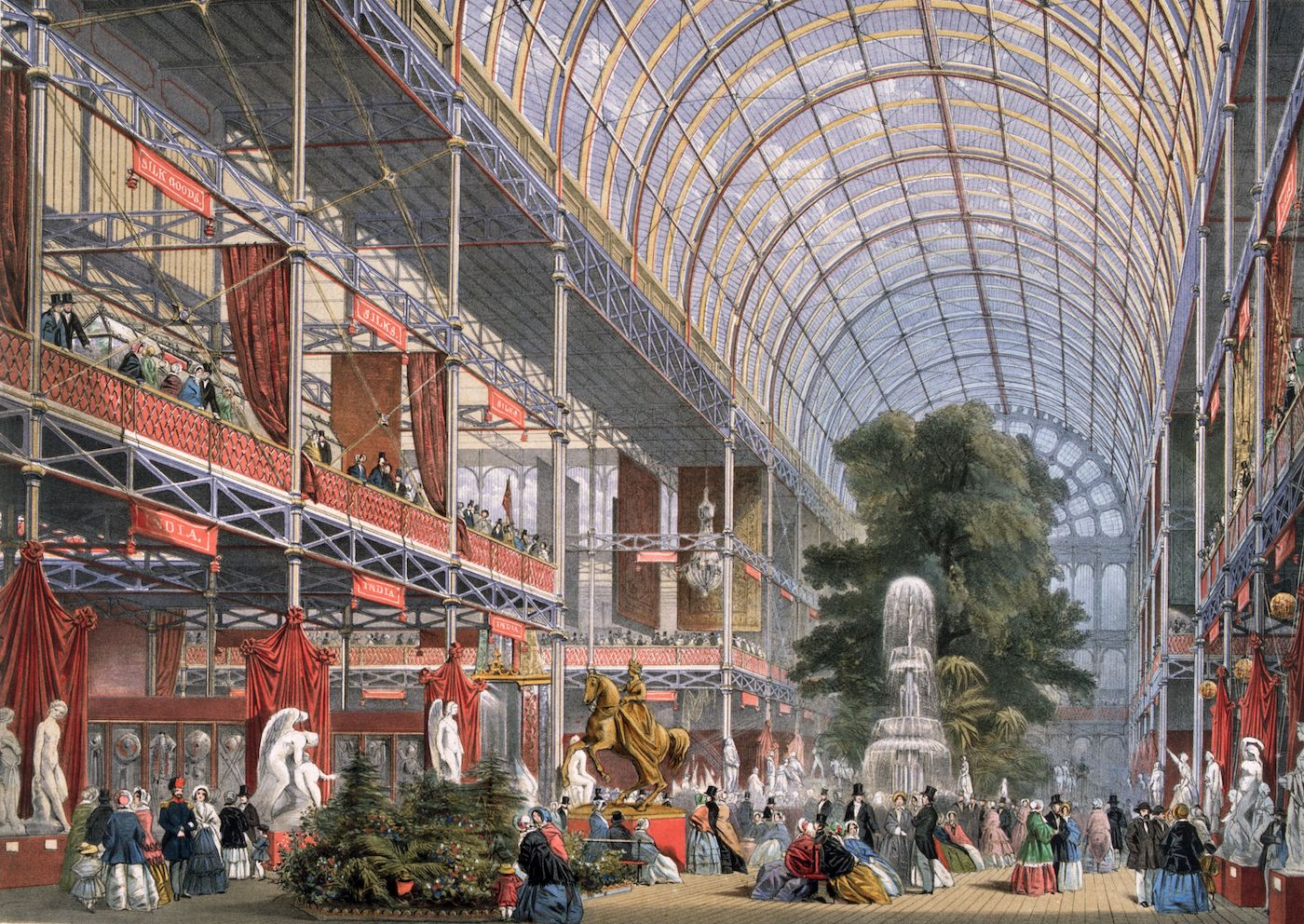 Illustration of a huge room with a glass ceiling and many exhibition stands.