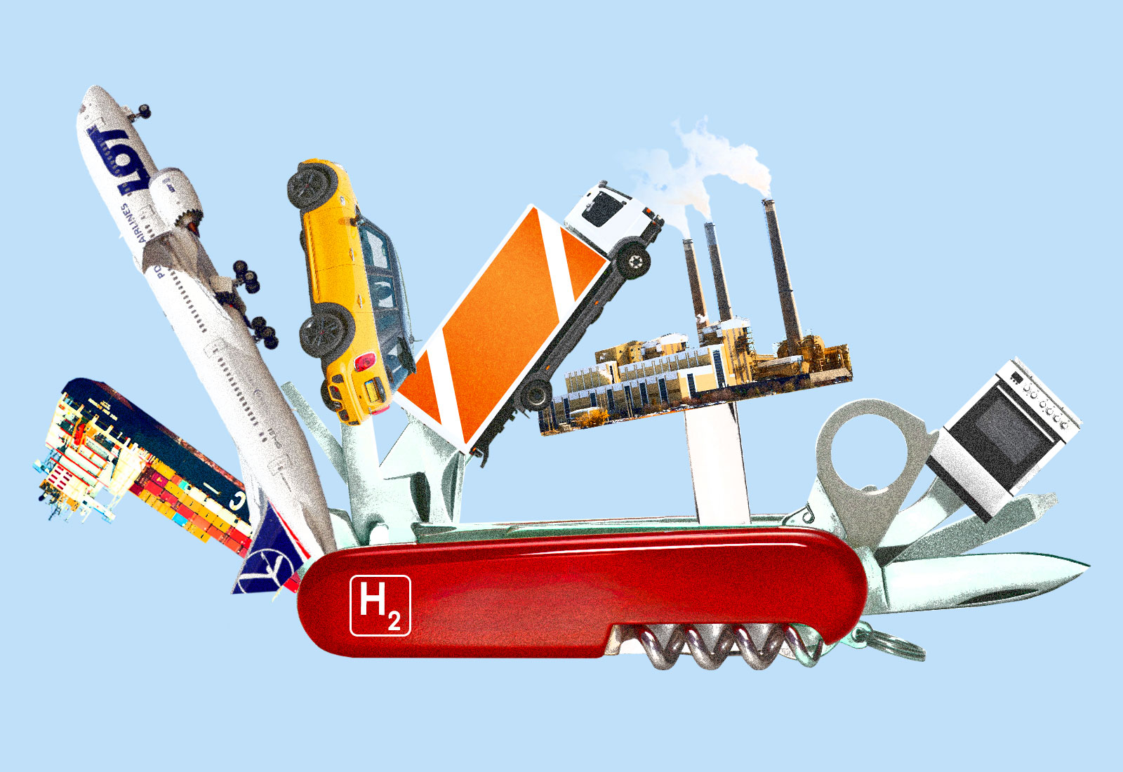 Collage: Swiss Army knife with a cargo ship, airplane, car, truck, factory, and stove as tools