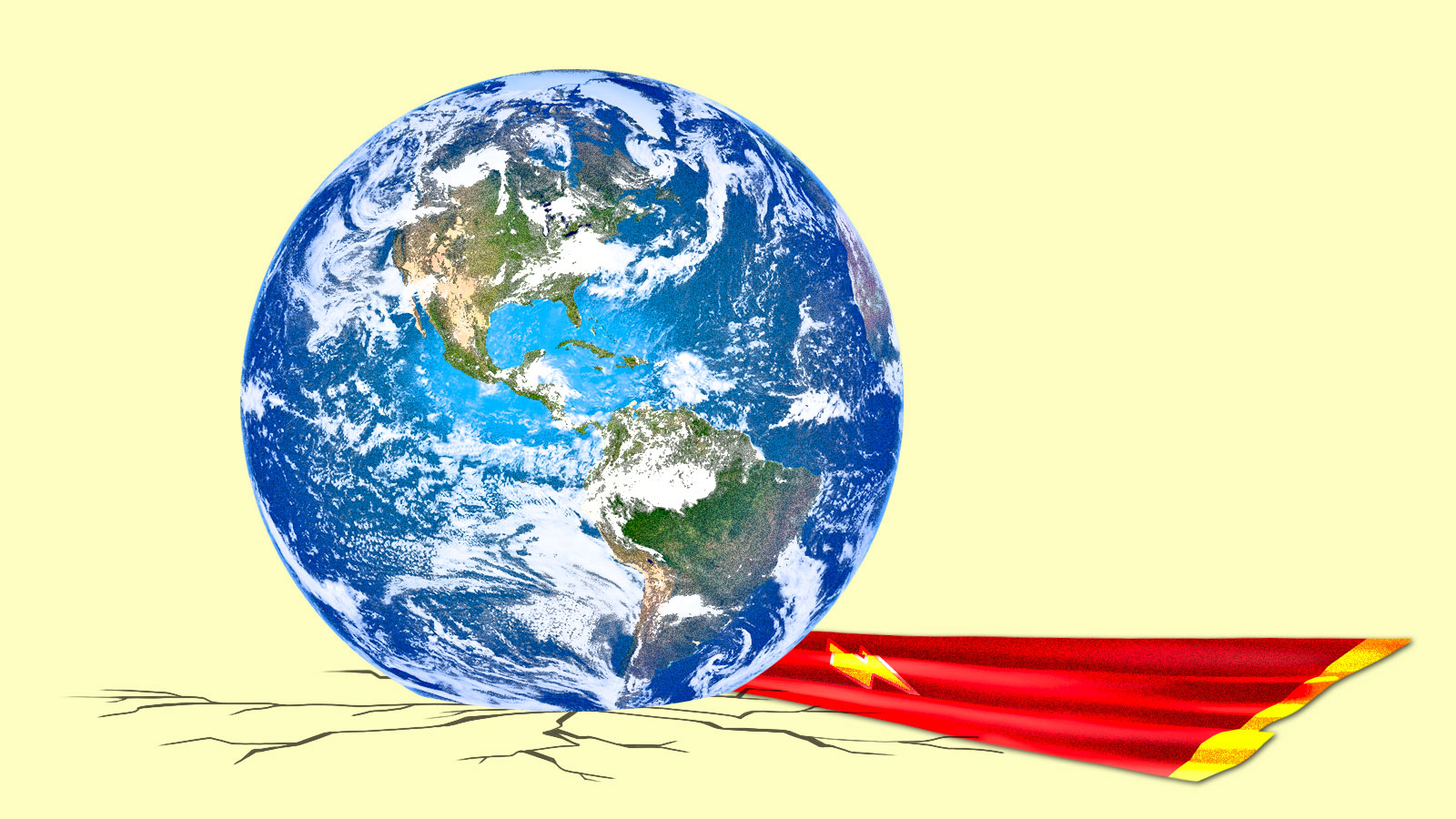 Collage: Earth on top of a superhero cape