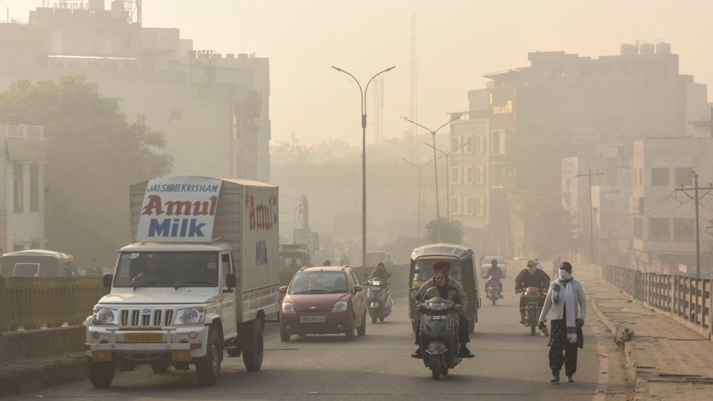 A smoggy sky in Amritsar, India.