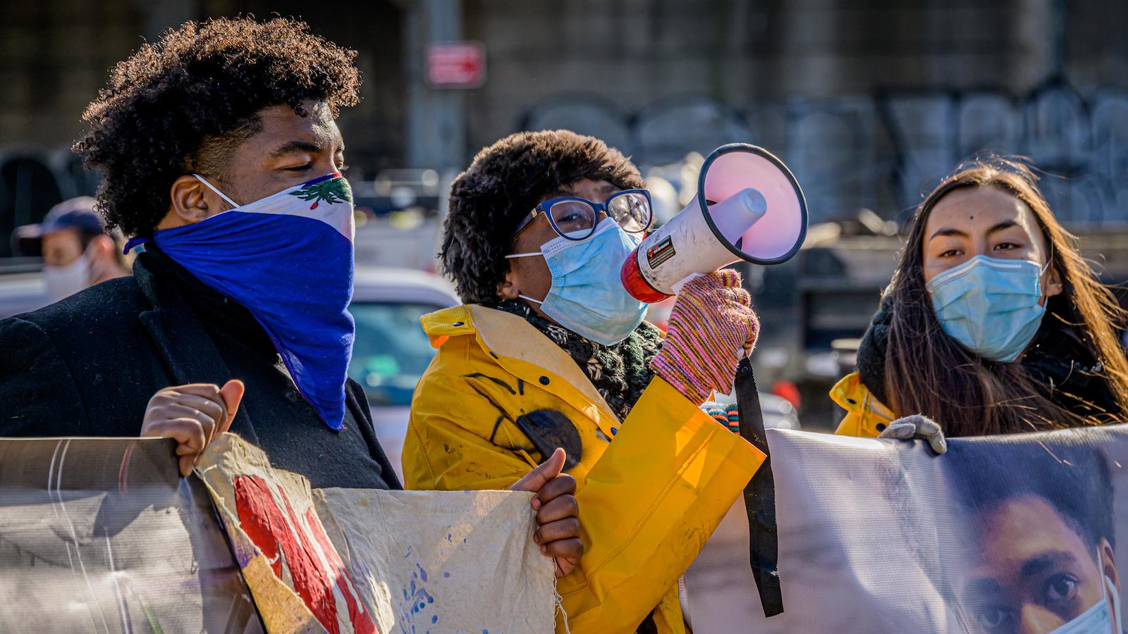 Protestors speak out against National Grid's pipeline.