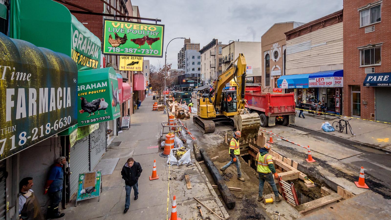 Pipeline construction in Brooklyn's Bushwick neighborhood.
