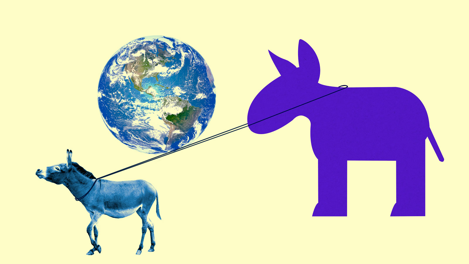 Donkey pulling larger donkey with Earth balanced on ropes between them