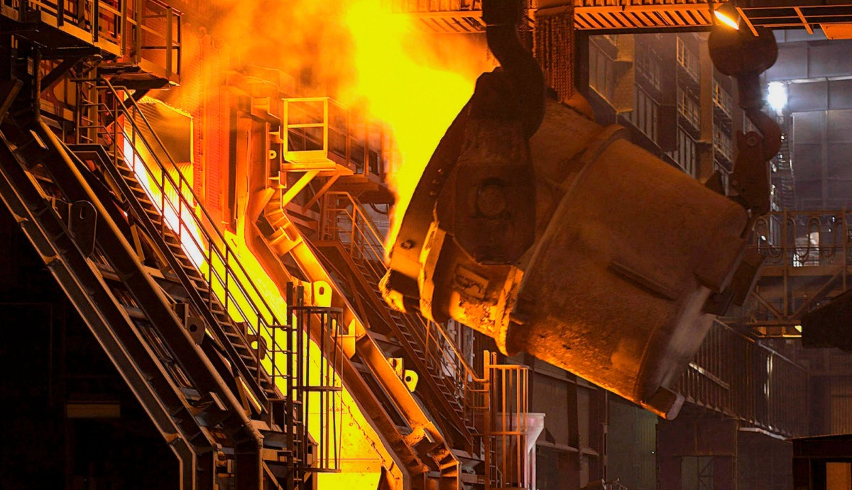 A blast furnace at a steel mill in Salzgitter, Germany.