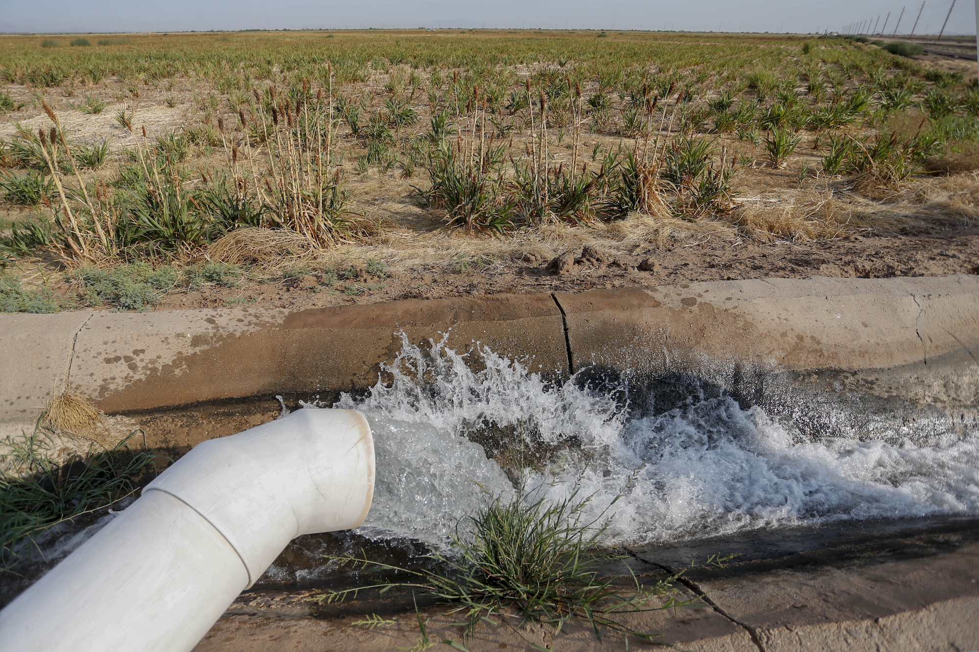 water flows from a white outdoor pipe into an irrigation canal amid dry land and brush