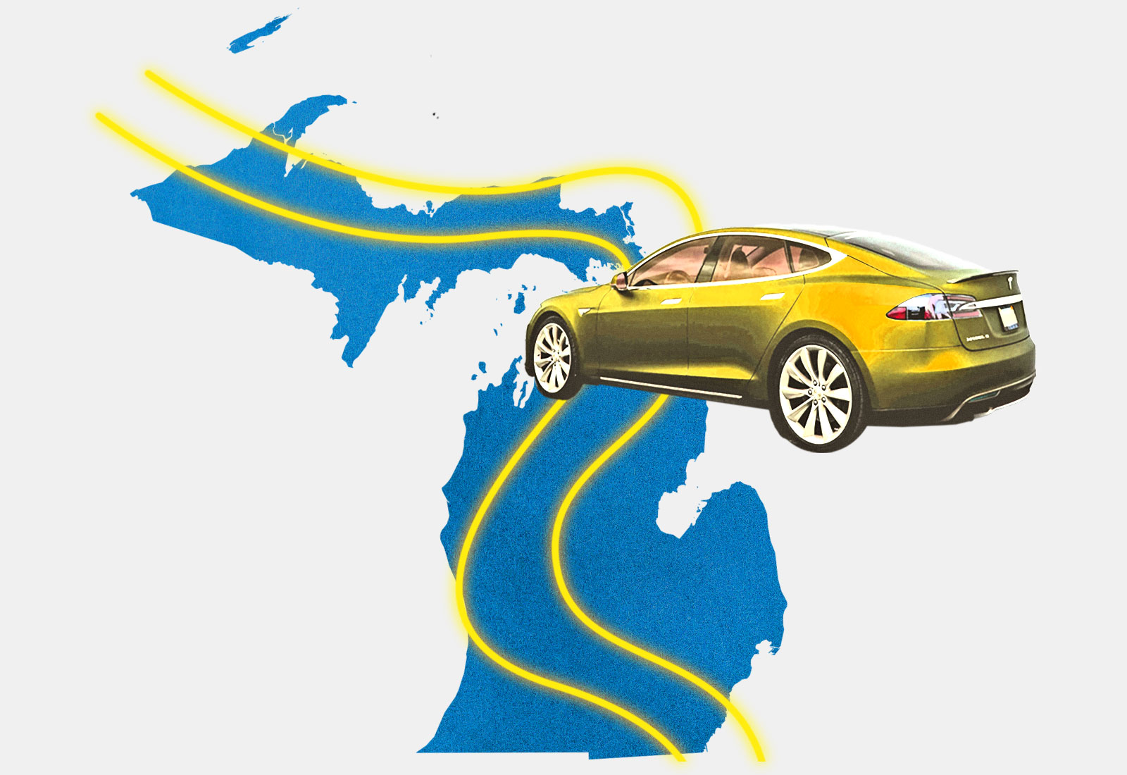 Electric car with neon lines representing roads on top of Michigan