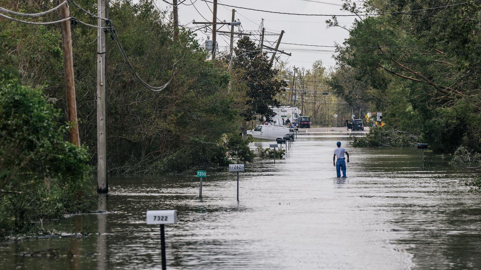 Flooding in Barataria, Louisiana, from Hurricane Ida
