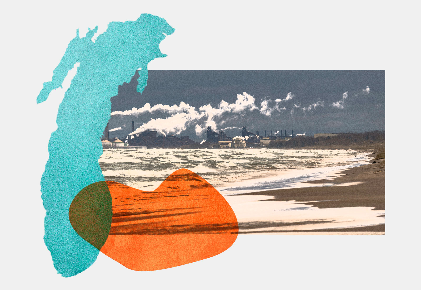Shape of Lake Michigan and photo of steel plant with orange blob on top