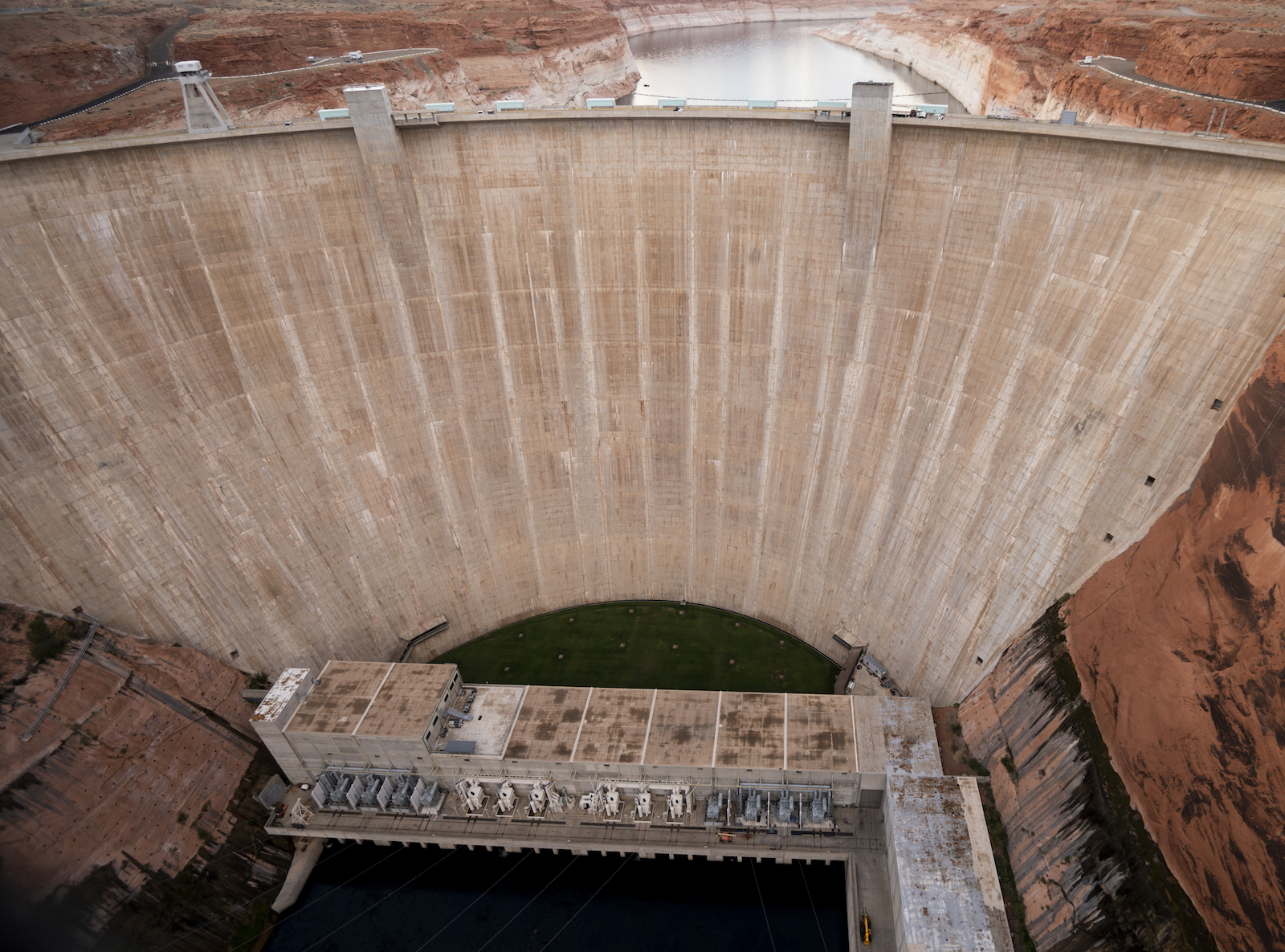 a large dam holding back a river