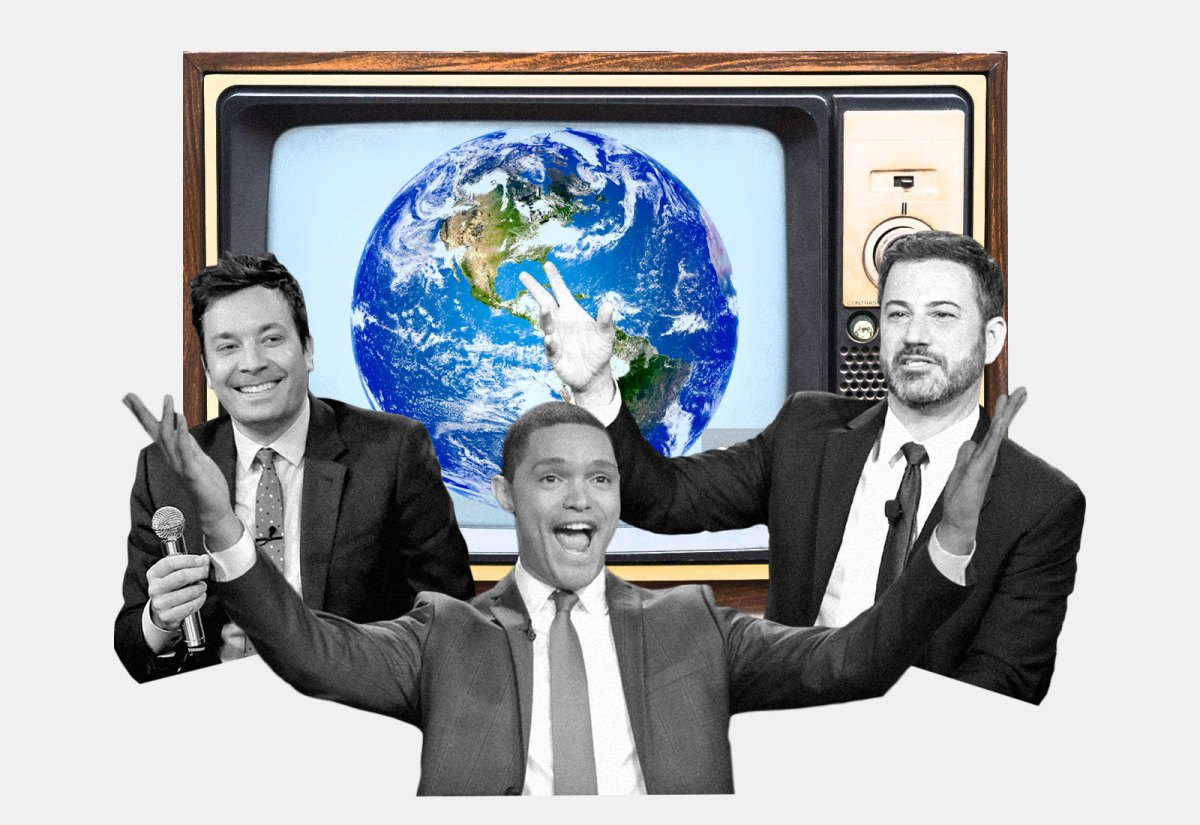 A TV with Earth on it, Jimmy Fallon, Trevor Noah, and Jimmy Kimmel in foreground