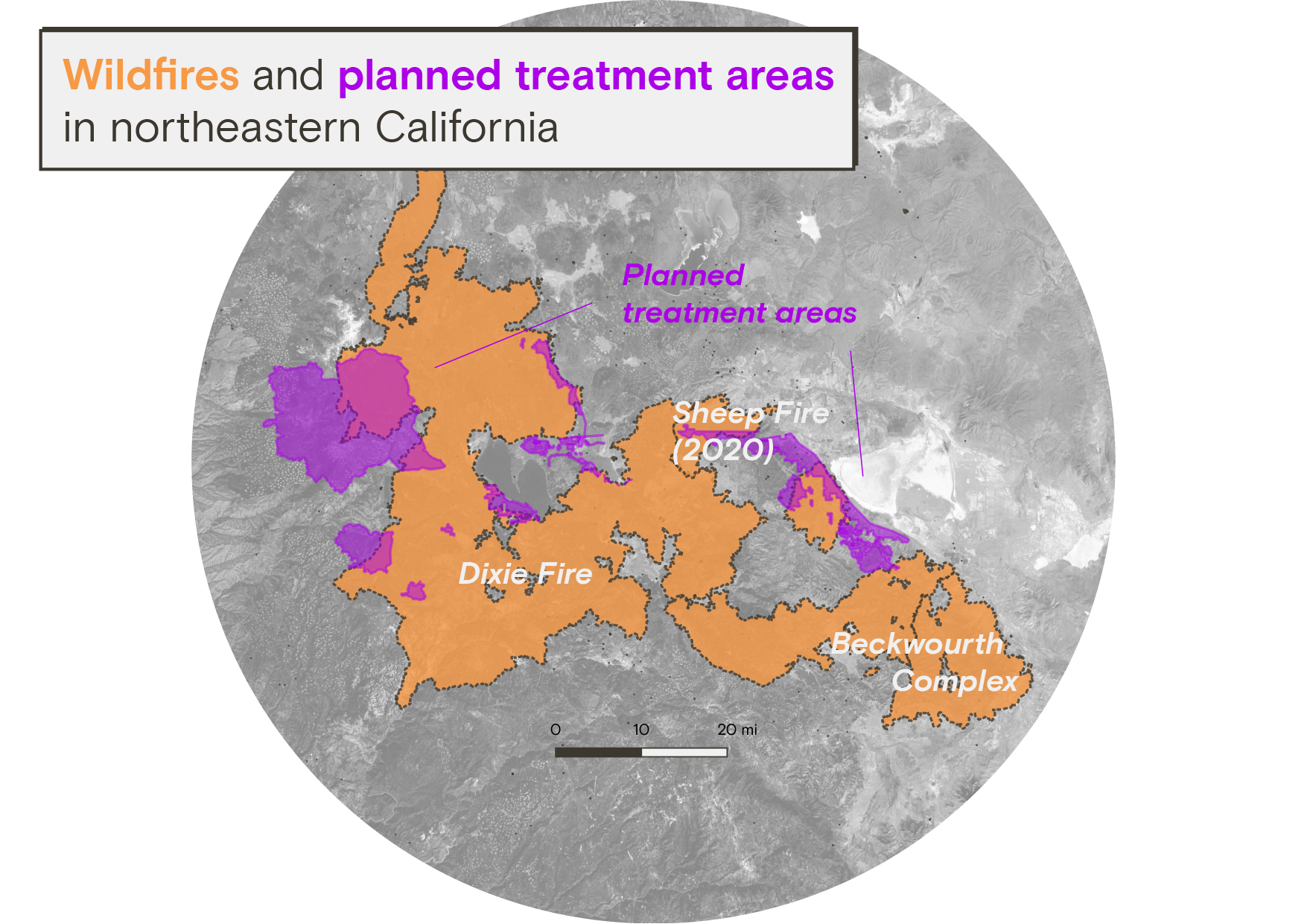 A map showing wildfires and planned treatment areas in northeastern California. The Dixie Fire, Sheep Fire, and Beckwourth Complex have infringed on many planned treatment areas before the projects could begin.