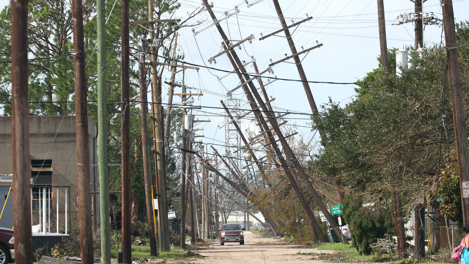 Downed power lines on a road in Houma, Louisiana.
