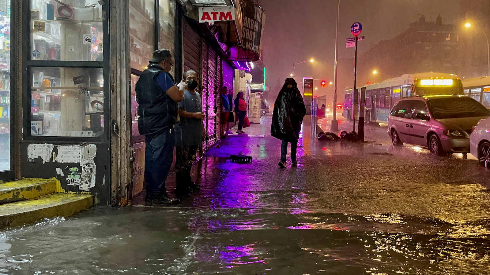 A person walks through the remnants of Hurricane Ida in the Bronx.