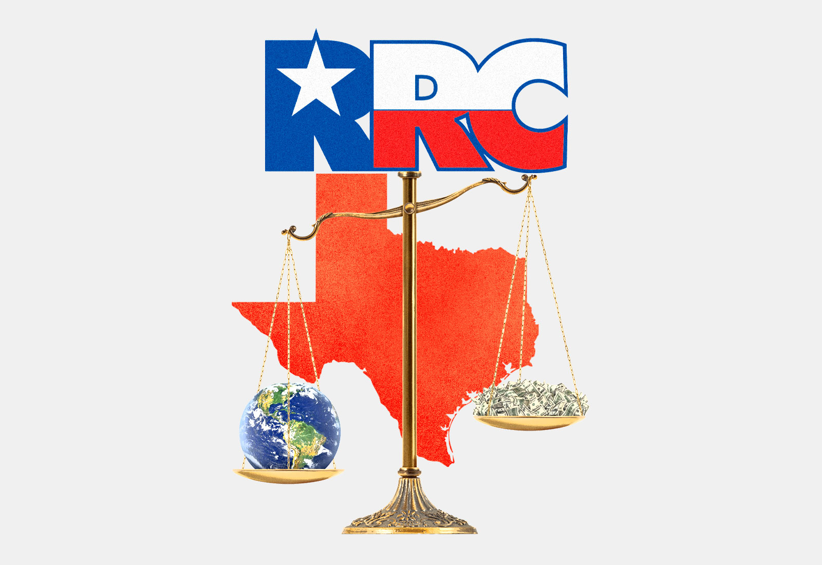 Texas Railroad Commission logo on top of scales with Earth and money on each side, Texas in background