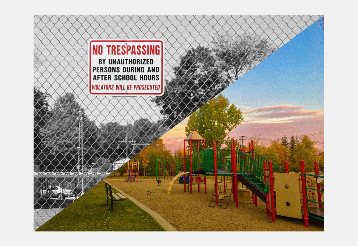 Split view of a schoolyard with a no trespassing sign and a parklike schoolyard
