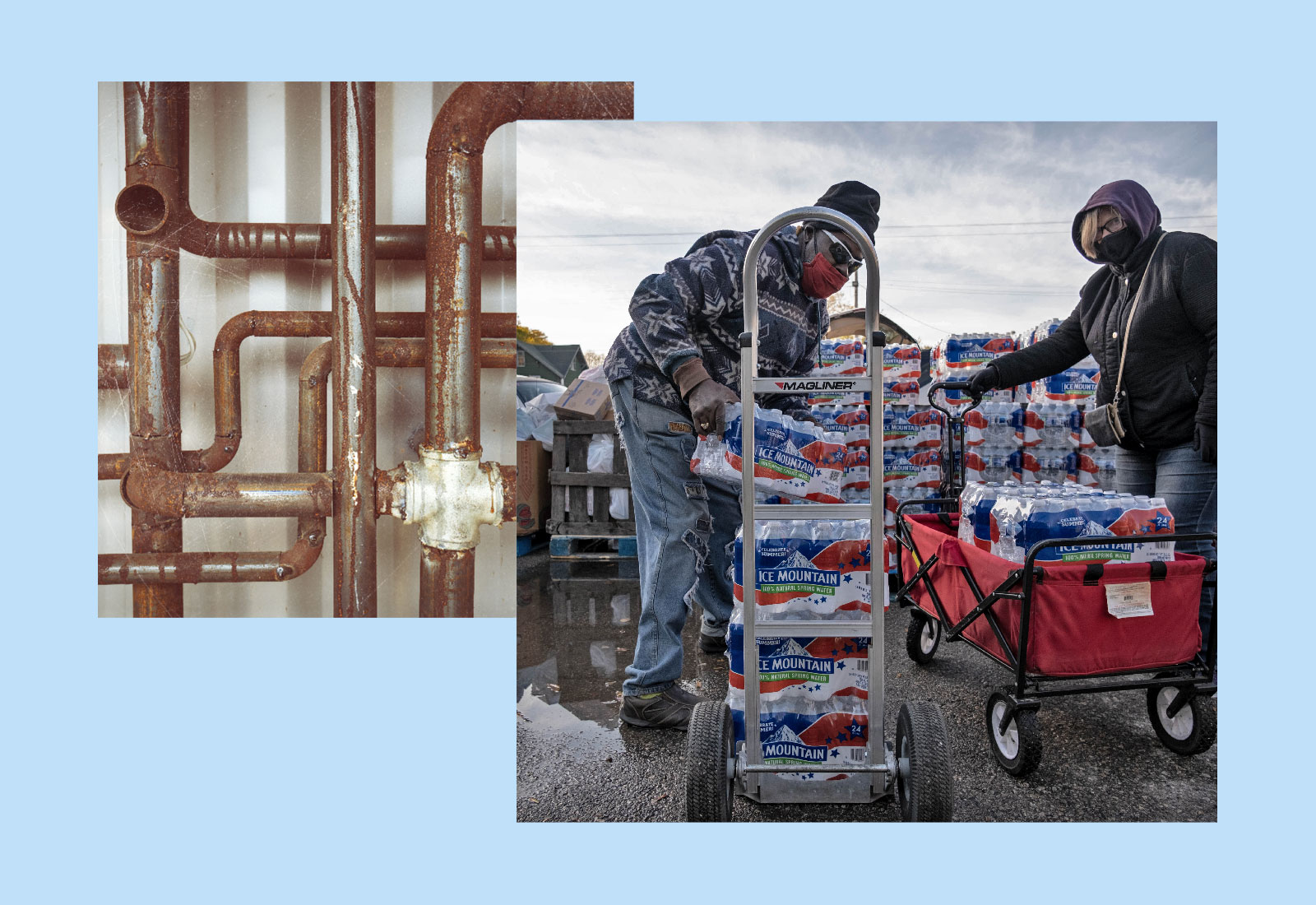 Collage: rusted water pipes and volunteers unloading packs of bottled water