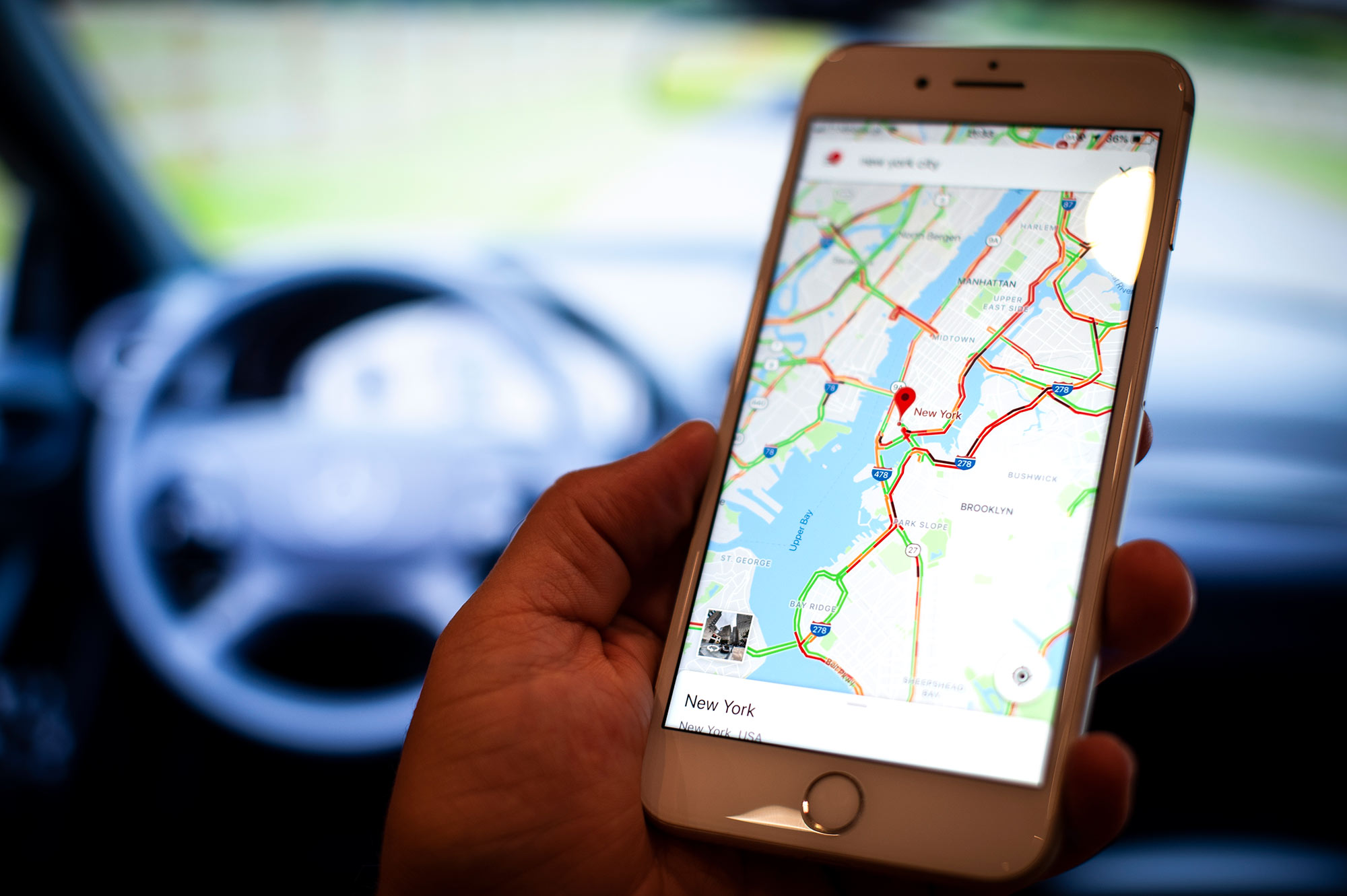 A mobile phone with the Google Maps application