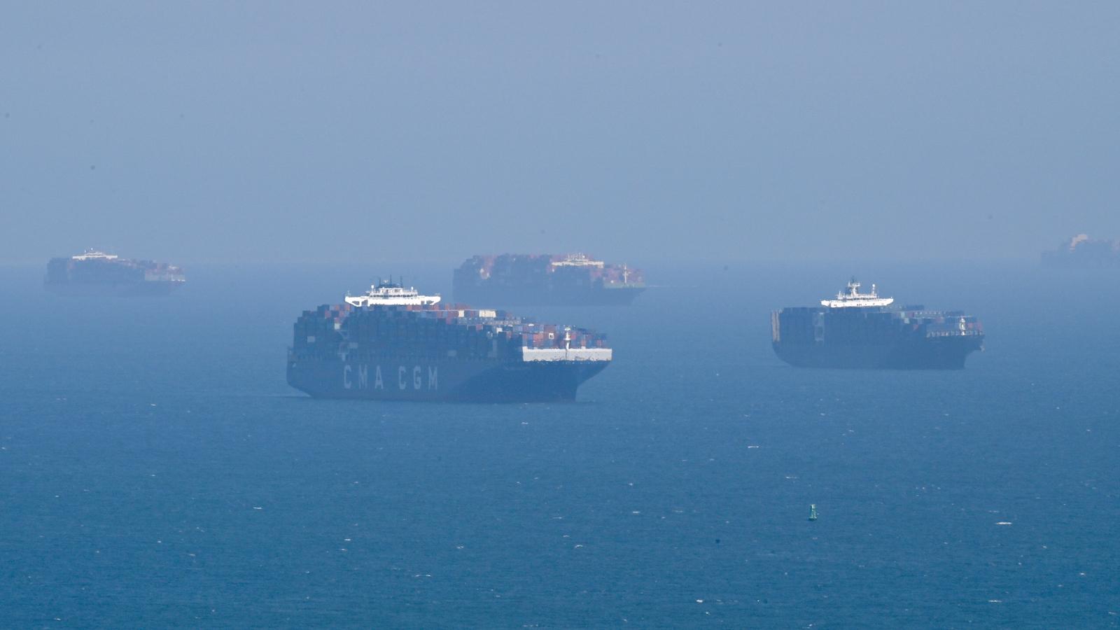 Cargo ships off Long Beach, California