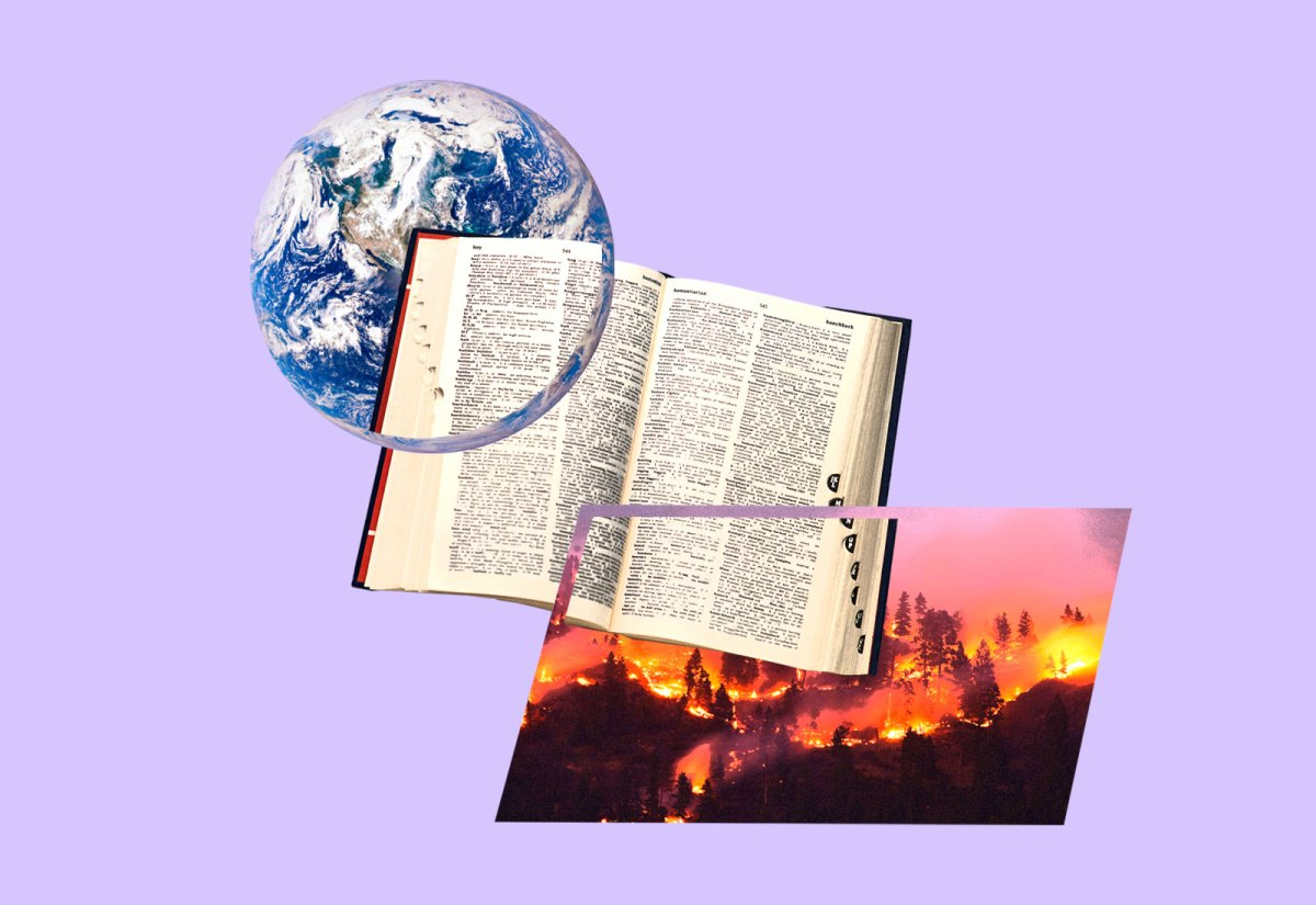 Planet Earth, a dictionary, and a forest fire overlapped on one another