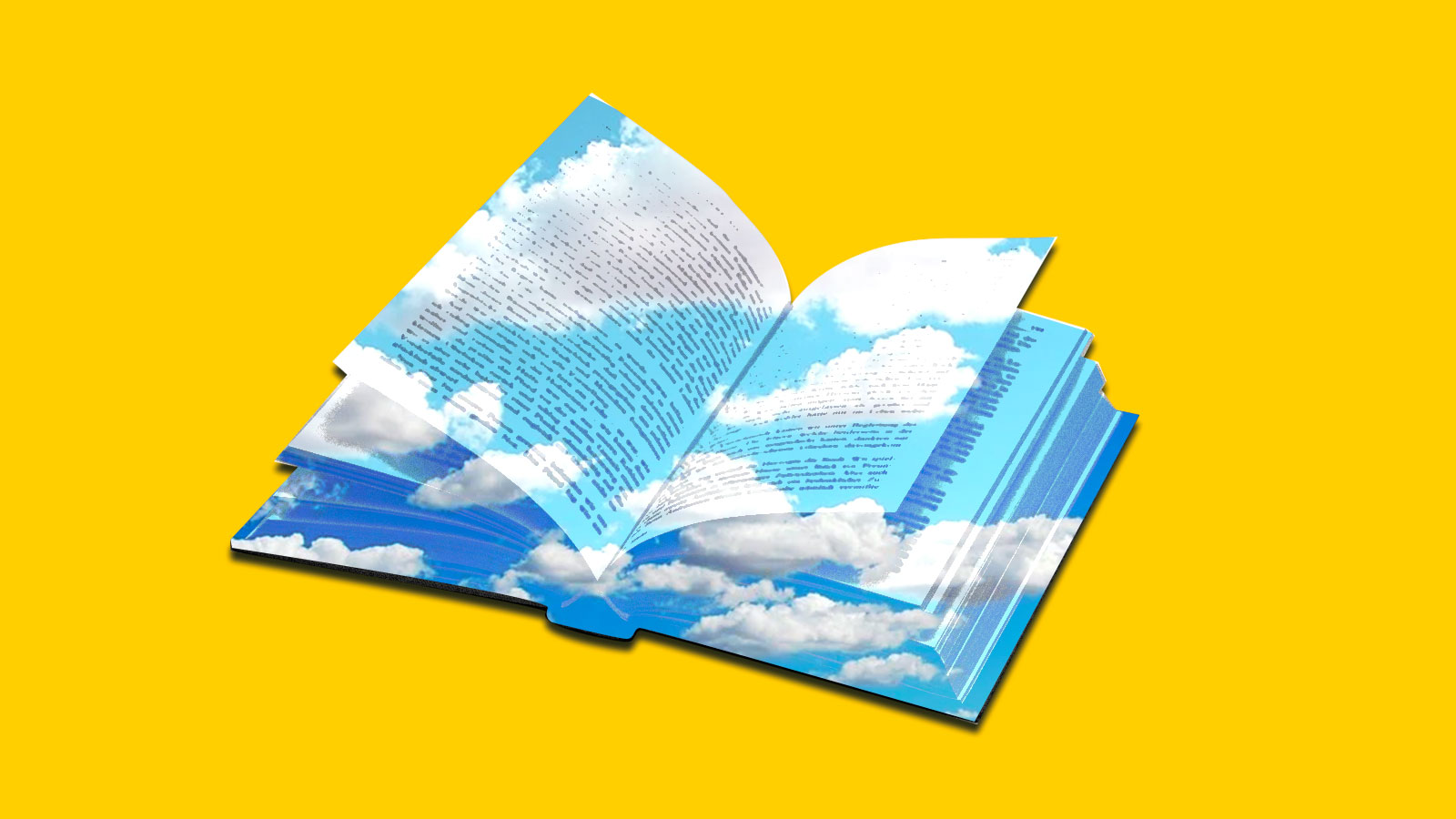 Collage: an open book with blue cloudy sky on top of it