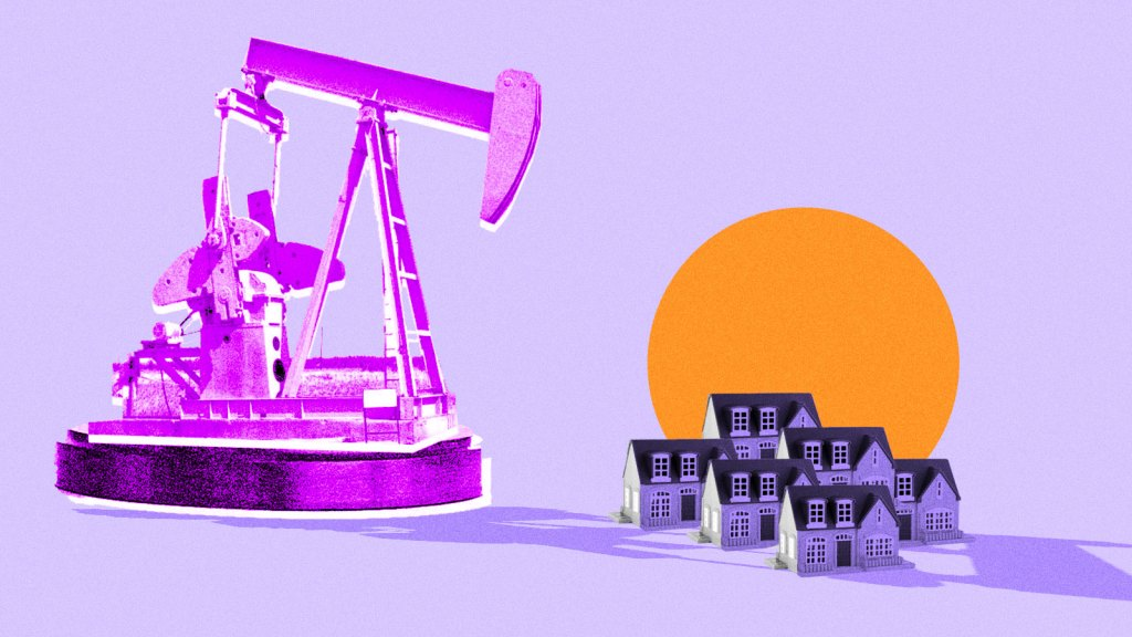 Collage: an oil pumpjack casting a shadow over a cluster of small houses